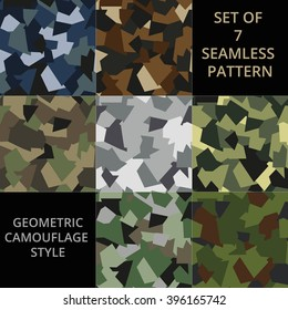 Set of 7 seamless pattern. Abstract military or hunting camouflage background. Made from geometric shapes. Vector illustration. EPS10.