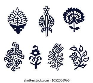 Set of 7 wood block print floral elements. Traditional oriental ethnic motifs of India Kashmir, monochrome. For your design.