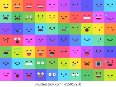 Set of 70 emojis faces and expressions on a modern flat style and colored backgrounds