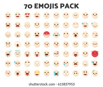 Set of 70 emojis in a modern flat style and with white human skin tone