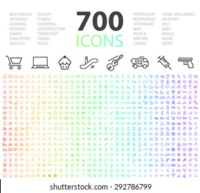 Set of 700 Minimal Modern Universal Standard High Quality Thin Line Icons on White Background.