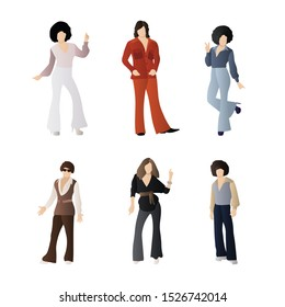 Set of 70's Disco People. Man and Woman Character with 70's Disco Wear. Flat Cartoon Vector Illustration in Colored Style. - Vector