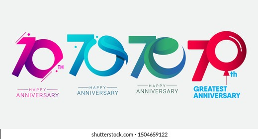 set 70th anniversary logo vector template. Design for banner, greeting cards or print.