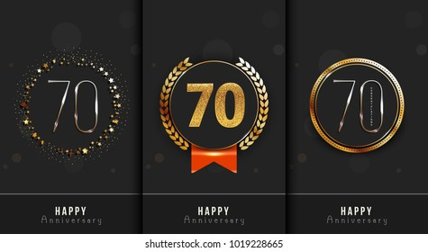 Set of 70th Happy anniversary cards template.