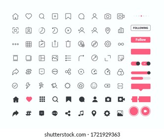 Set of 72 Social media icons and Ui elements, thin line style, Vector illustration
