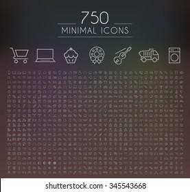 Set of 750 Minimal Universal Isolated Modern Elegant Thin Line Icons on Black Background.