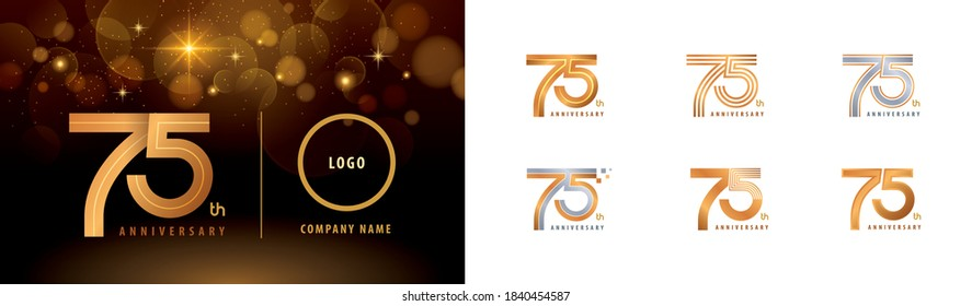 Set of 75th Anniversary logotype design, Seventy five years Celebrate Anniversary Logo multiple line for Congratulation celebration event, invitation card, greeting, Abstract 75 silver and golden logo