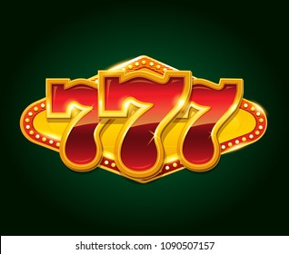 Set of 777 gold casino jackpot sign