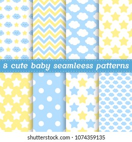 Set of 8 baby seamless patterns in blue, yellow and white colors. Vector illustration