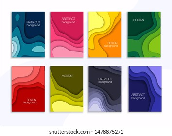 Set of 8 backgrounds with colorful paper cut shapes. 3D abstract paper art style, design layout for business presentation. Cover layout design template.