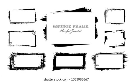 Set of 8 black ink brush strokes frames rectangular shapes isolated on white background for decor of banners, inscriptions, logos and art products in grunge design