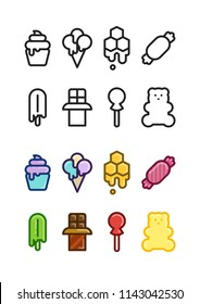 Set of 8 black and white and 8 color sweet and candies icons.