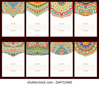 Set of 8 cards with oriental ornaments. Collection of banners with bright ethnic patterns. Copy space. Template for greeting card, invitation or poster. Vector file is EPS8.