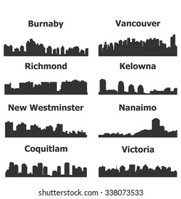 Set of 8 City silhouette in British Columbia, Canada ( Vancouver, Burnaby, Kelowna, Nanaimo, New Westminster, Richmond, Virginia, Coquitlam )