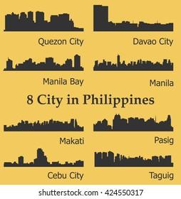 Set of 8 city silhouette in Philippines ( Quezon City, Davao City, Makati, Manila, Pasig, Taguig, Cebu, Manila Bay )