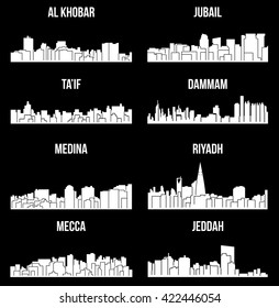 Set of 8 city silhouette in Saudi Arabia ( Mecca, Riyadh, Jeddah, Medina, Dammam, Jubail, Ta'if, Al Khobar )