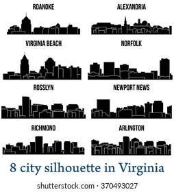 Set of 8 city silhouette in Virginia ( Richmond, Norfolk, Arlington, Virginia Beach, Rosslyn, Alexandria, Newport News, Roanoke )