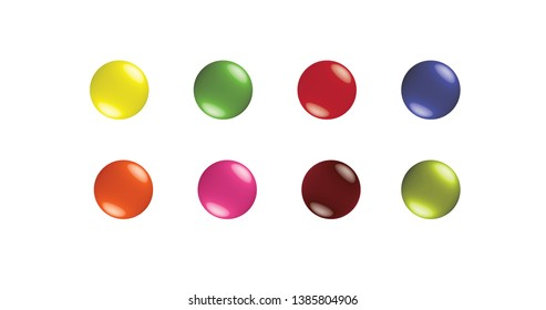 Set of 8 colorful buttons or candies web graphic elements