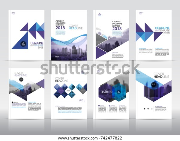 Set 8 Cover Design Templates Annual Stock Vector Royalty