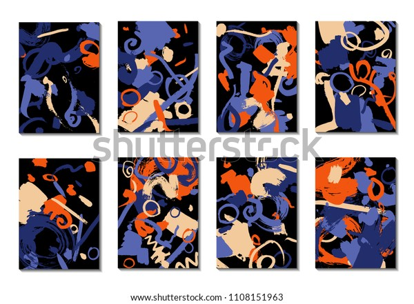 Set 8 Cover Templates Bright Brush Stock Vector Royalty Free 1108151963