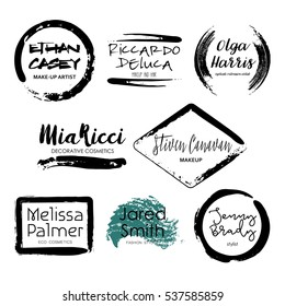 Set of 8 creative Makeup Artist logo templates. Handdrawn black textured frames isolated on white background. Fashion design of emblem for stylist. Perfect for logotype and business card.