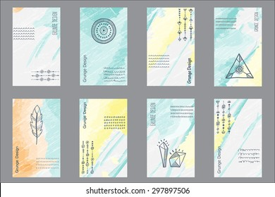 Set of 8 creative universal cards. Hand Drawn textures. Trendy hipster retro backgrounds and ethnic pattern with triangles, circles and a semicircle. Vector