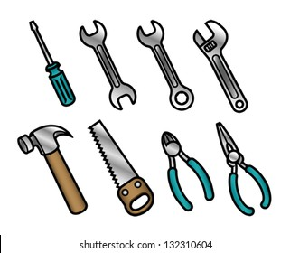 A set of 8 cute and colorful cartoon carpenter tool icons. Eps 8 Vector.