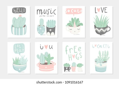 Set of 8 cute ready-to-use gift romantic postcards with succulents. Vector printable template design collection of  cards, invitations, posters in pastel colors with pretty trendy cacti houseplants