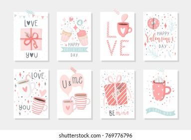 Set of 8 cute ready-to-use gift romantic postcards with penguins Gifts, hearts, cups and magic Vector printable collection of Valentine's Day card, invitation, poster in gentle colors template design