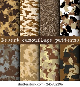 Set of 8 desert camouflage patterns vector