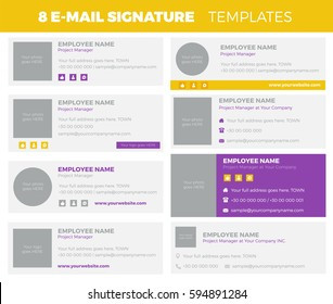 Set of 8 flat and modern e-mail signature templates