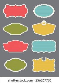 Set of 8 frame or label vector design elements