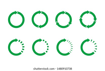 Set of 8 green circle arrows on white background. Recycle symbol, life cycle, concept. Loop rotation sign set. Arrow heads representing circulation. Circular arrows with tail effect. Vector, flat.