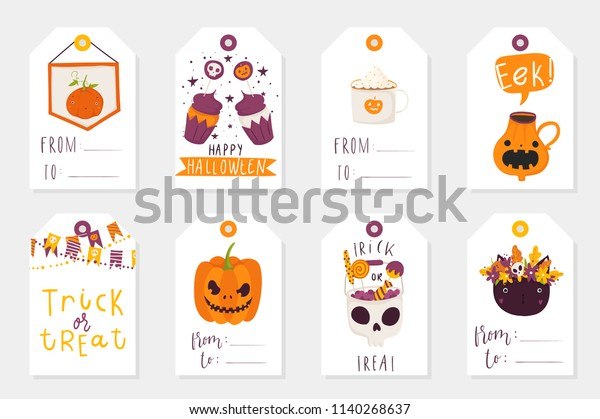 Set 8 Halloween Gift Tags Cute Stock Vector Royalty Free 1140268637