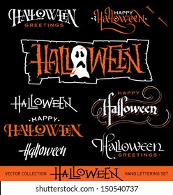 Set of 8 HALLOWEEN hand lettering pieces -- handmade calligraphy, vector (eps8)