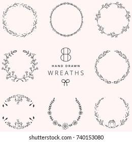 Set of 8 Hand Drawn Vector Floral Wreath Frames. Decorative Rustic Elements.