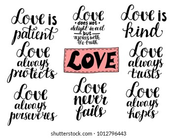 Set of 8 hand lettering quotes about love from Corinthians . Card. Biblical background. Christian poster. Modern calligraphy. Expression of feelings. Scripture