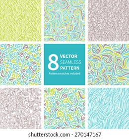 Set of 8 hand-drawn background with floral and curls elements. Seamless pattern for your design wallpapers, pattern fills, web page backgrounds, surface textures. Pattern swatches included