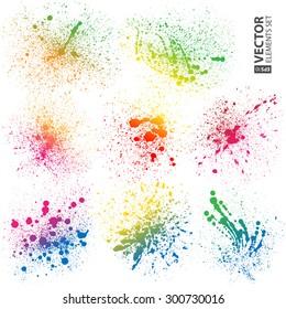 Set of 8 isolated colorful gradient rainbow grunge paint splashes on white background. RGB EPS 10 vector illustration