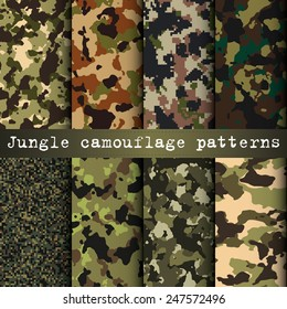 Set of 8 jungle camouflage patterns vector