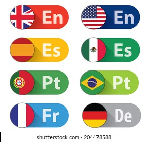 Set of 8 Language buttons, flat style. CMYK Ai10 EPS.
