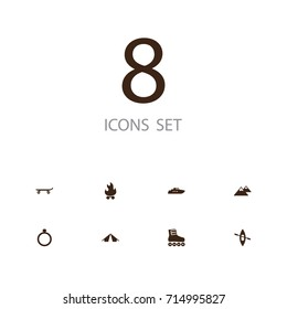 Set Of 8 Lifestyle Icons Set.Collection Of Skateboard, Roller Skates, Ship And Other Elements.