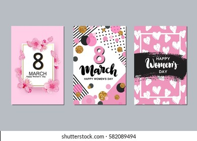 Set of 8 march cards. Happy women's international day design.