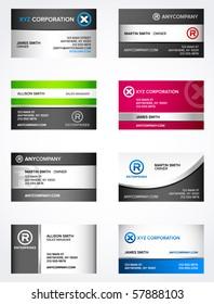 Set of 8 metallic themed business card templates