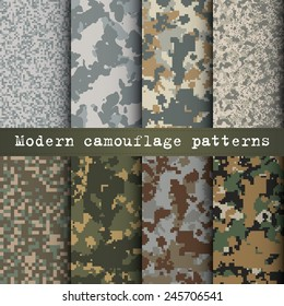 Set of 8 modern camouflage patterns vector