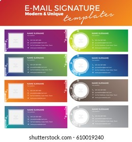 Set of 8 modern and unique email signature templates