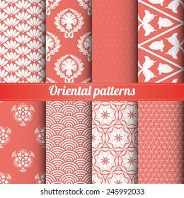 Set of 8 oriental patterns vector