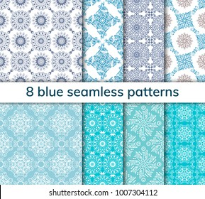 Set of 8 patterns. Collection arabic, indian, japanese, islamic motifs. Mandala seamless pattern. Ethnic bohemian background. Wrapping and scrapbook paper. Abstract flower. Vector illustration