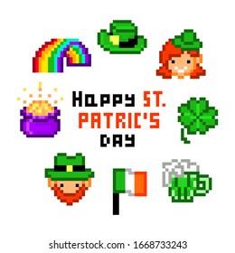Set of 8 pixel art Saint Patrick's Day icons isolated on white background. Hat, rainbow, leprechaun man and woman, shamrock, Ireland flag, pot of gold. 8 bit retro slot machine/video game graphics.