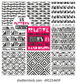 Set of 8 primitive geometric patterns collection. Includes 15 pattern brushes for Illustrator. Tribal seamless backgrounds with grunge texture. Modern trendy prints. Vector illustration. EPS10.